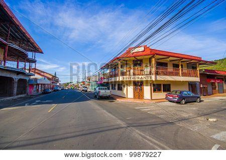 Boquete, Panama - April 19, 2015 : Boquete Is A Small Town On The Caldera River, In The Green Mounta