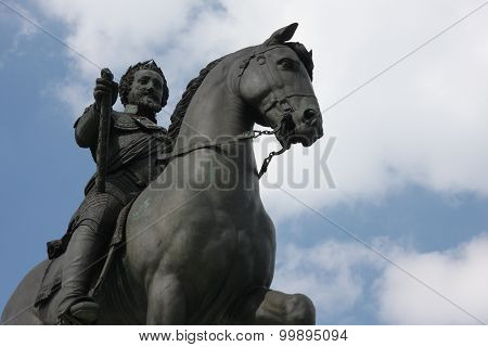 Statue of the king Henri IV in Paris poster