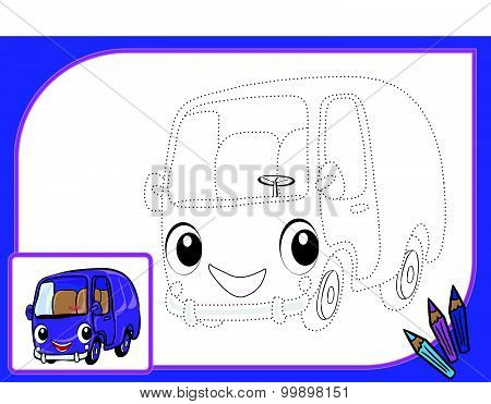 Coloring Book With Dots Autobus