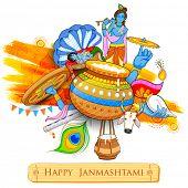 illustration of Lord Krishana in Happy Janmashtami poster