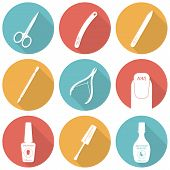Set of flat icons of tools and accessories for nail care - manicure and pedicure. Scissors, nail files, cuticle pusher, cuticle nipper, nail polish, nail polish brush, nail polish remover. Vector illustration poster