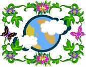 Here is a colorful picture of Mother Earth surrounded by nature. poster