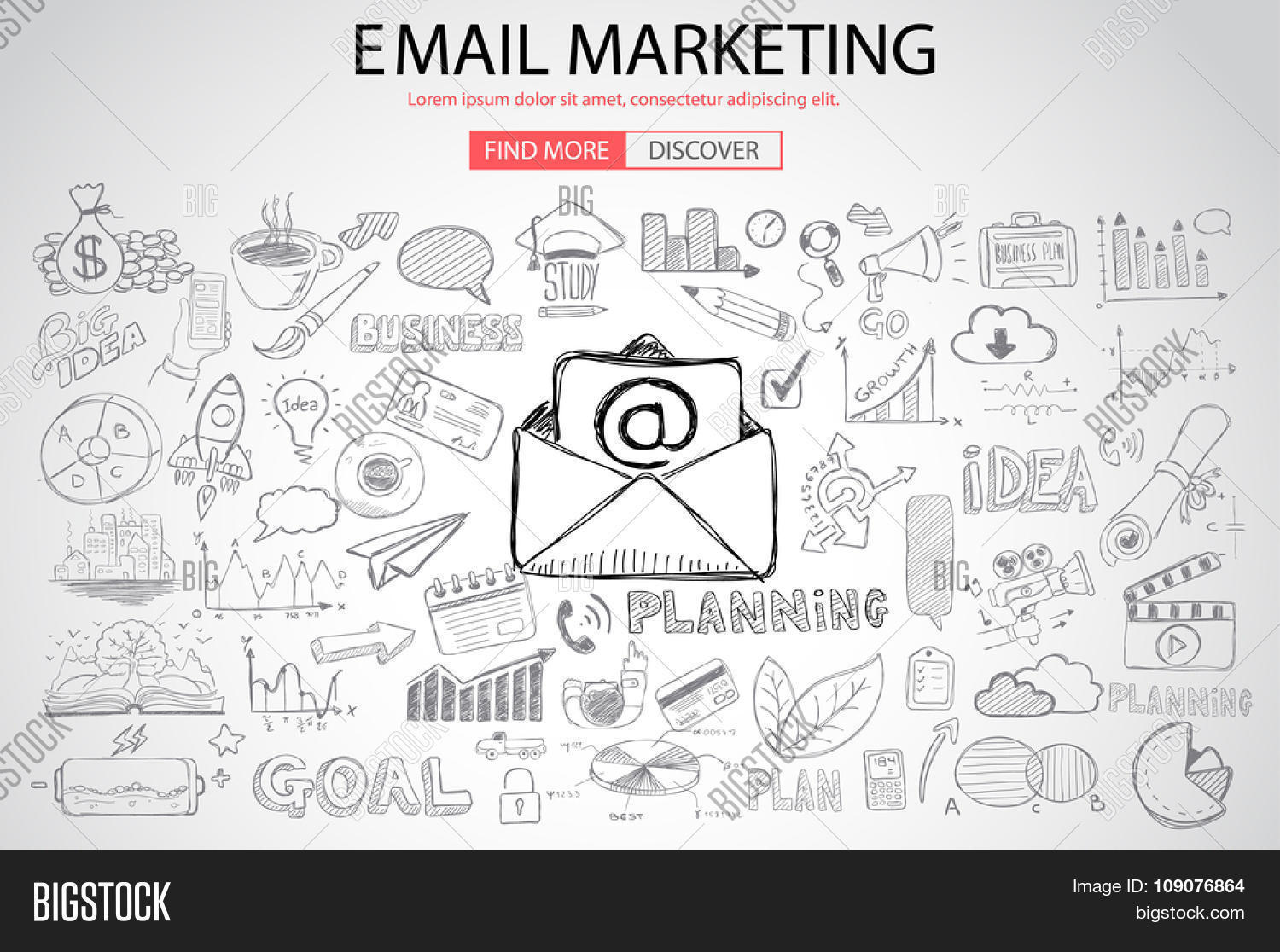 Email Marketing With Doodle Design Style Sending Visual Emails Promotions Creative Designs