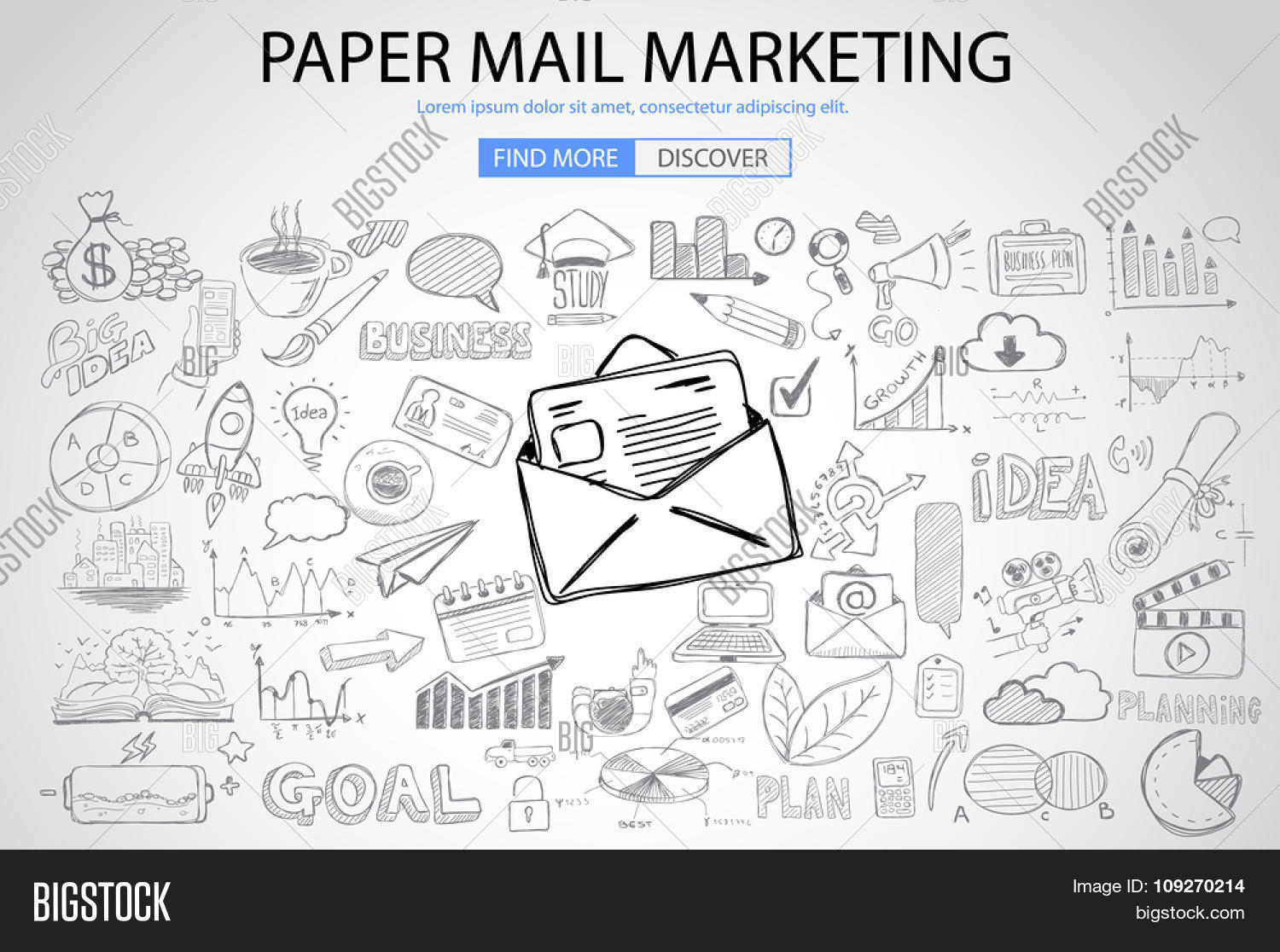 Paper Email Marketing With Doodle Design Style Sending Visual Emails Promotions Creative Designs