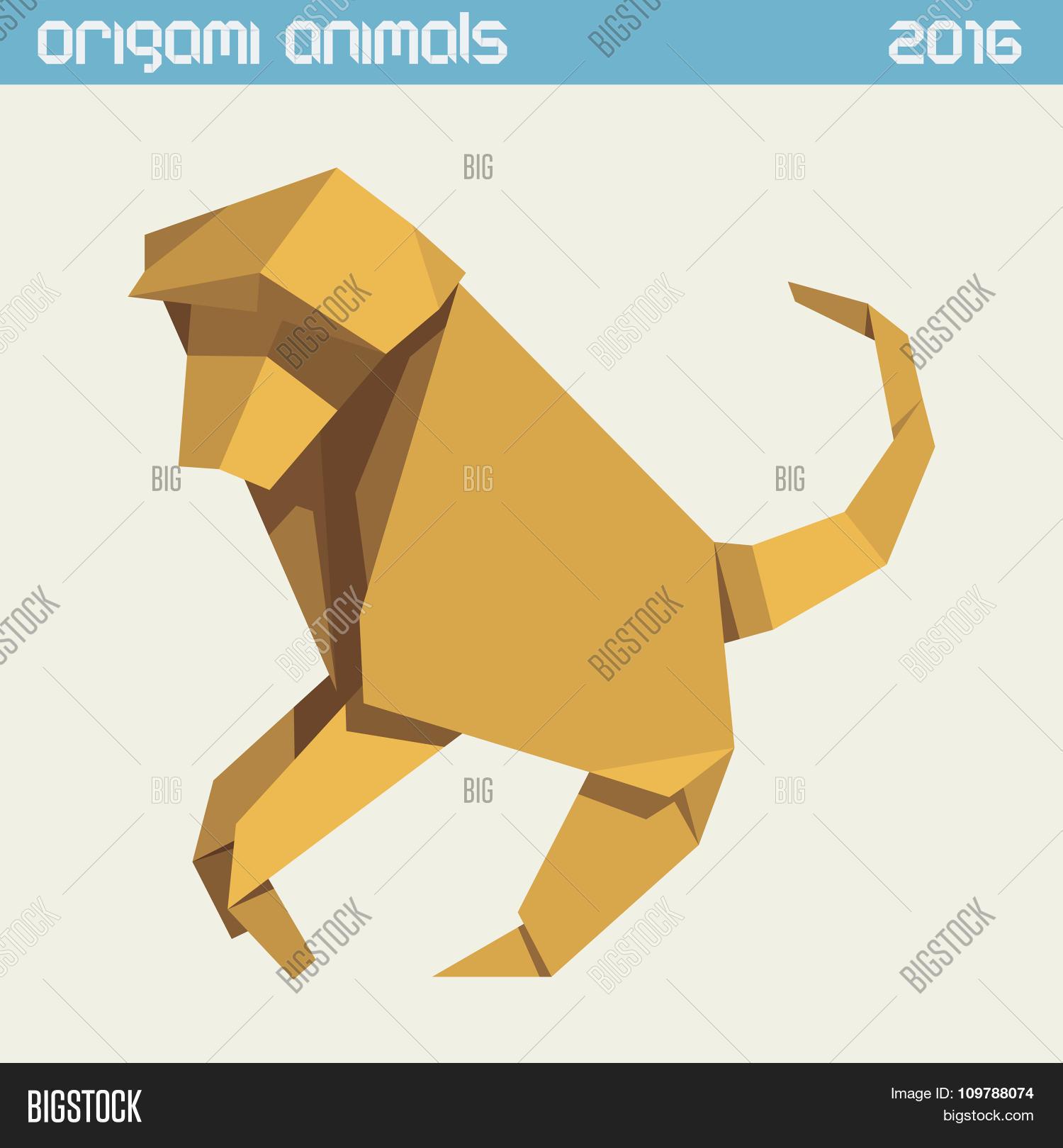 Origami monkey Royalty Free Vector Image - VectorStock | 1620x1500