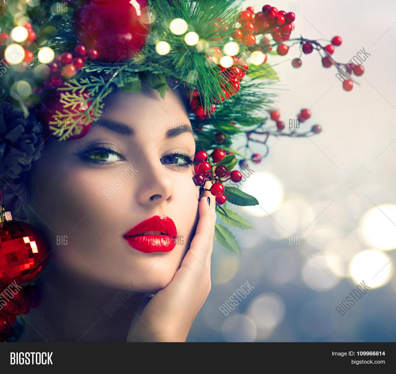 Christmas Beauty.Christmas Makeup Image Photo Free Trial Bigstock
