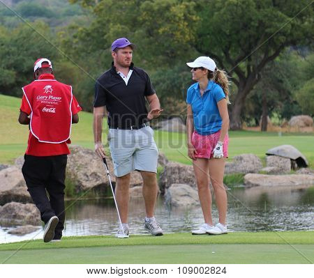 Ladies Pro Golfer Emma Cambrera-bello Former And Former Protea Cricket Captain Graeme Smith November