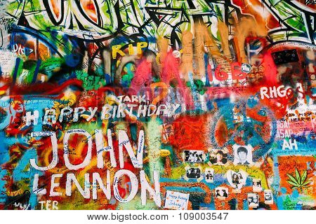 Famous place in Prague - The John Lennon Wall, Czech Republic