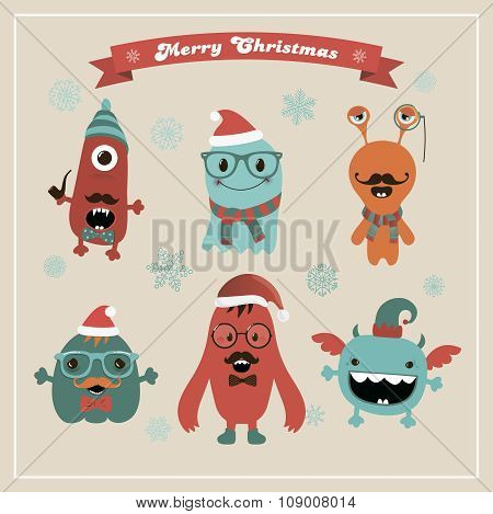 Vector Cute Retro Hipster Christmas Monsters Set