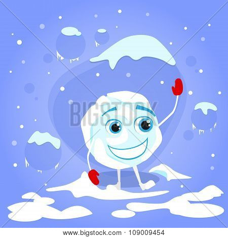 Snowball Laughing Red Gloves Cartoon Funny Character Winter Ball Snow Smile Face Illustration poster