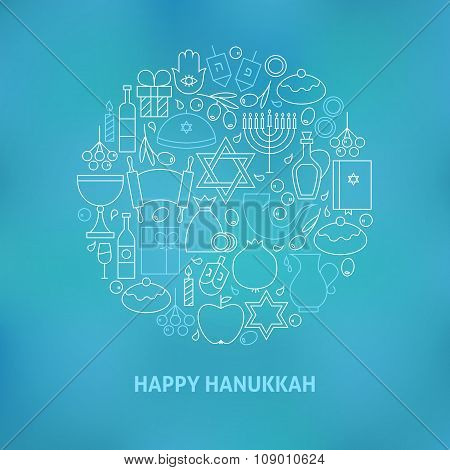 Thin Line Jewish Happy Hanukkah Holiday Icons Set Circle Shaped Concept