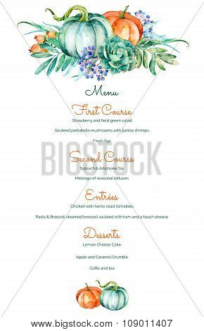 Decorative menu invitation template of high quality hand painted watercolor elements