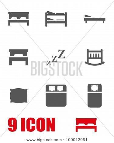 Vector grey bed icon set