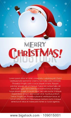 Christmas vertical banner. Santa Claus in the chimney.