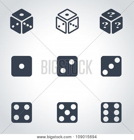 Vector black dice icon set