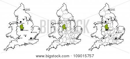 Staffordshire located on map of England