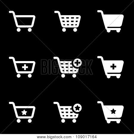 Vector white shopping cart icon set