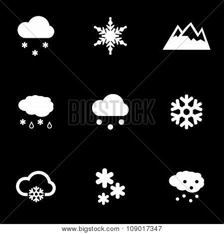 Vector white snow icon set