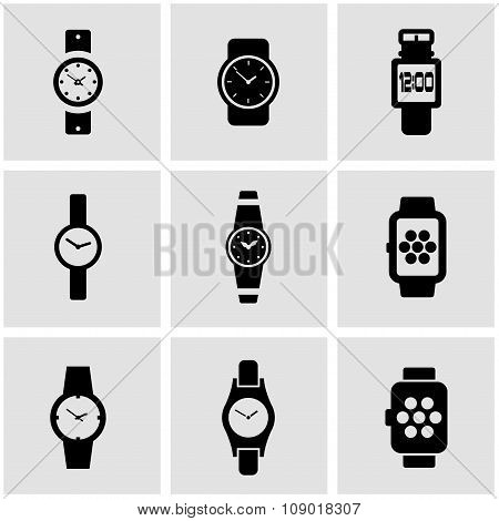 Vector black wristwatch icon set