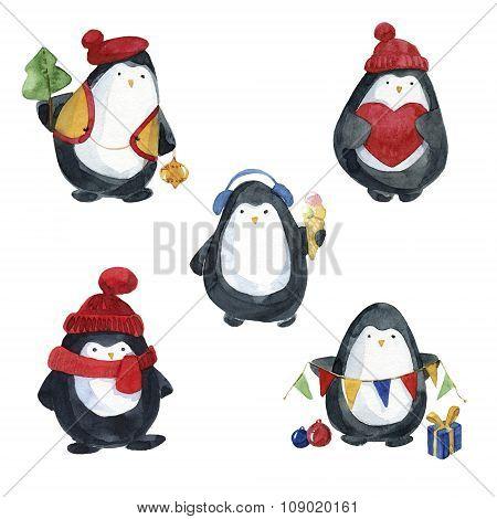 Set of penguins preparing for Christmas. Watercolor hand drawn.
