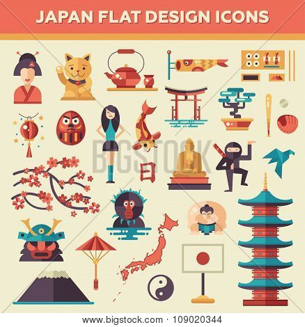 Set of flat design Japan travel icons and infographics elements with landmarks, famous Japanese symb