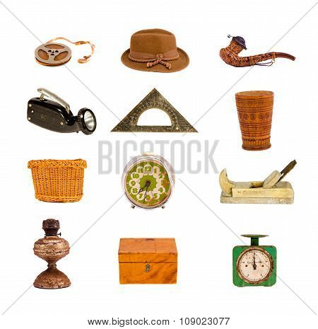 Collection Of Antique And Vintage Objects On White Background