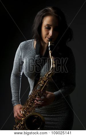 Beautiful Sax Player
