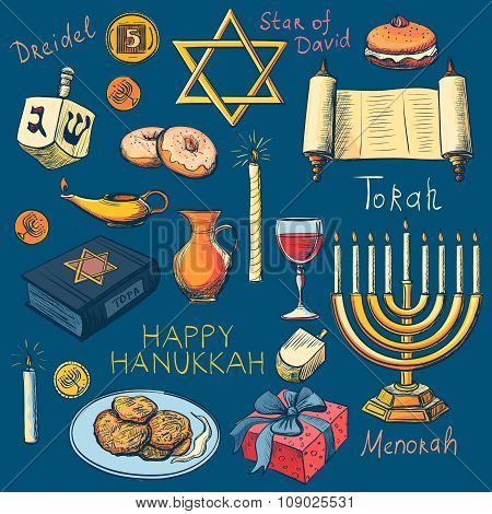 Hanukkah traditional jewish holiday symbols set