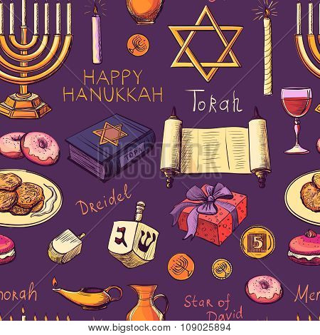 Seamless pattern with Hanukkah symbols