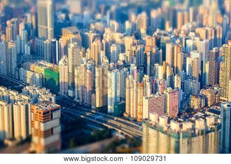 Abstract Futuristic Cityscape. Hong Kong. Tilt Shift Effect