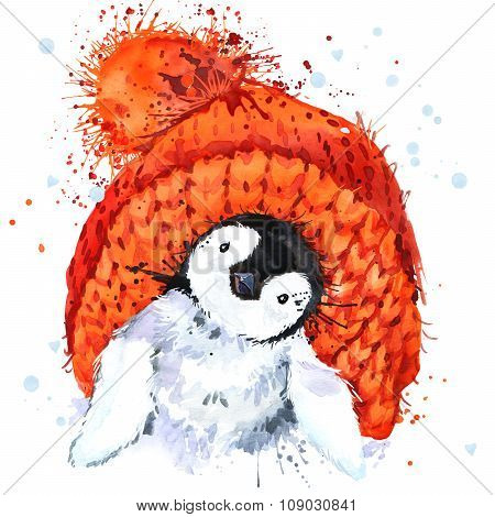 Cute Penguin T-shirt graphics. Penguin illustration with splash watercolor textured  background. unu