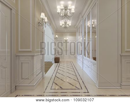The Interior Design Of The Hall In A Classic Style.
