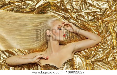 Hair Style Model, Fashion Long Straight Hairstyle, Woman Gold Color