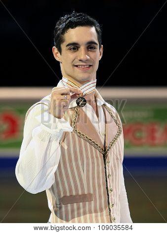 Javier Fernandez (esp) Poses With Gold Medal