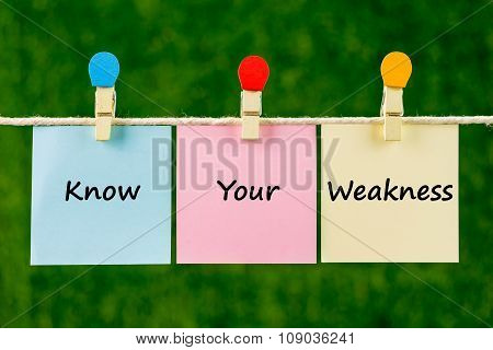 Words Of Know Your Weakness On Sticky Color Papers Hanging By A Rope.