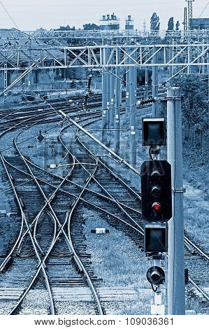 Railway Junction In Blue Background 5