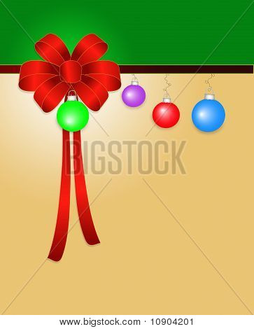 Christmas Bow and Ornaments Background
