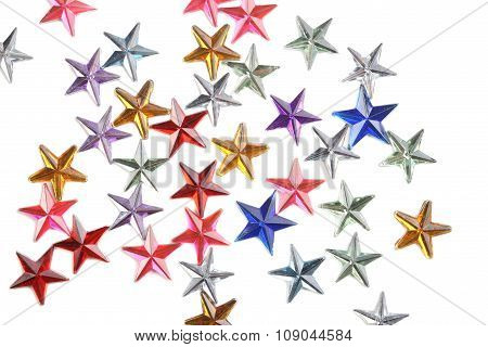 colored stars confetti on white background isolate poster
