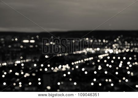Abstract White Black Circular Bokeh Background, City Lights In The Twilight With Horizon, Closeup