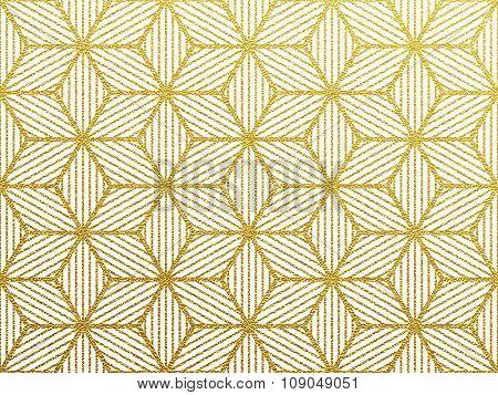 Seamless geometric gold glittering seamless pattern on white background.