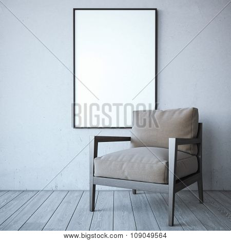 Blank white frame with chair in the bright interior.