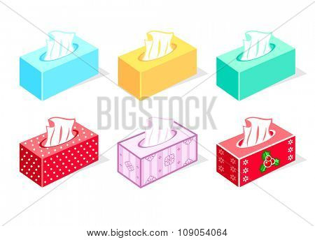 Colorful tissue boxes for health care and gift