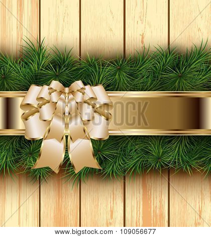 Christmas wooden background with fir branches, bow and ribbon. Vector illustration.