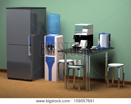 Kitchen Area In The Office  (3D Rendering).