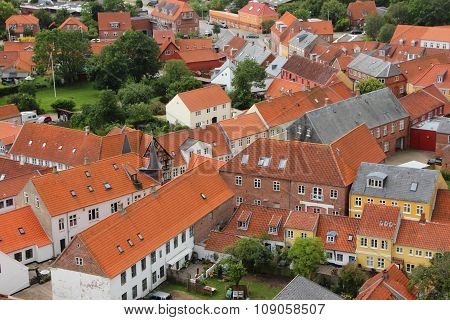 Houses With Red Tile Roof In Birdseye Perspective