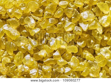 Salt Crystals Background, Yellow Crystallized Salts Stone Crystal Closeup