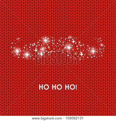 Christmas card with Santa Claus moustache and hohoho phrase on red wool knitted background