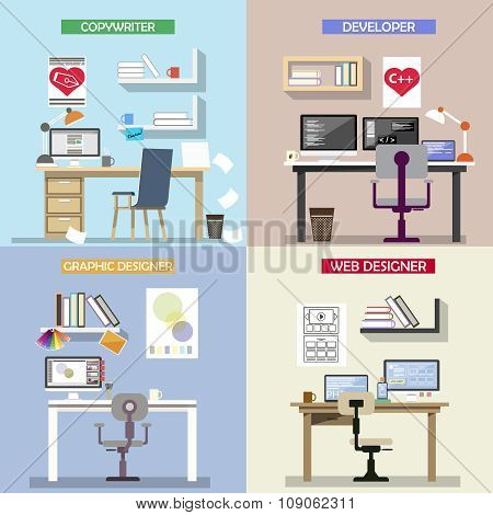 Vector design concept for working places. Set of office desks. Office interior and icons