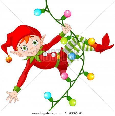 Illustration of cute Christmas elf swinging on a garland