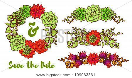Vintage Wedding wreath of succulents for greeting cards, ornaments. Decorative floral element of succulents for invitations, covers, t-shirt poster